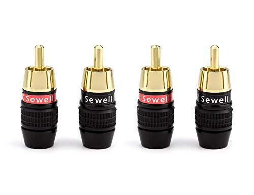 Sewell Deadbolt RCA Plugs with Fast-Lock Technology, 2 Pair (4 Pieces), Premium Solderless RCA Plugs