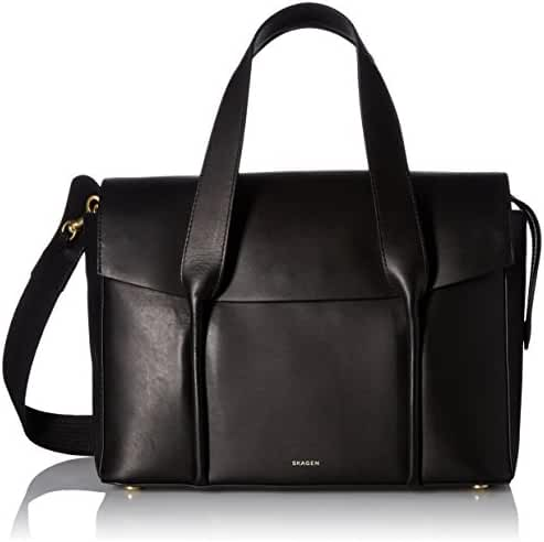 Skagen Beatrix Leather Flap Satchel-Black