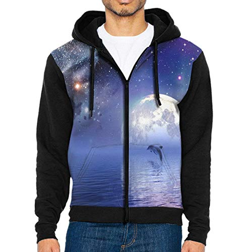 FaceTi Dolphin Jump in Bright Star Moon Night Zip Up Hoodie Long Sleeve Pullovers Hooded Active Sweatshirts Hoodies (Star Coral Polyp)