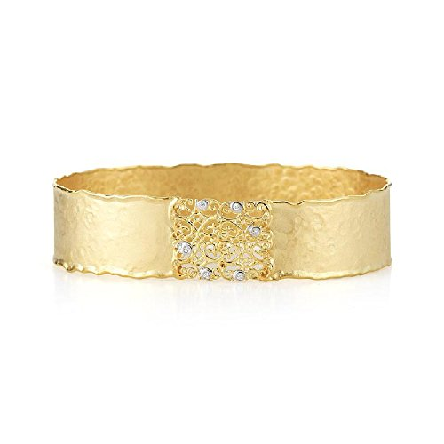 14k Yellow Gold Matte-Hammer-Finish Narrow Filigree Scalloped Edge Cuff Bangle Diamond Bracelet