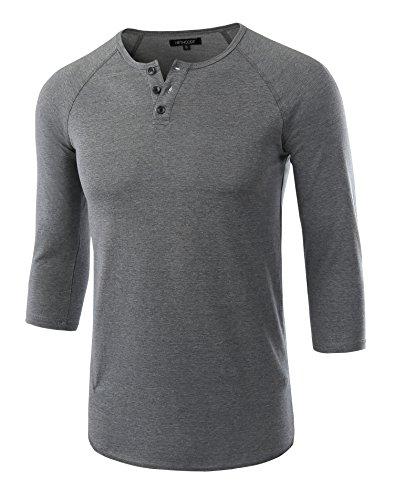 HETHCODE Men's Casual Raglan Fit Soft Baseball 3/4 Sleeve Henley T-Shirts Tee Slate Green XL (Henley Baseball Tee)