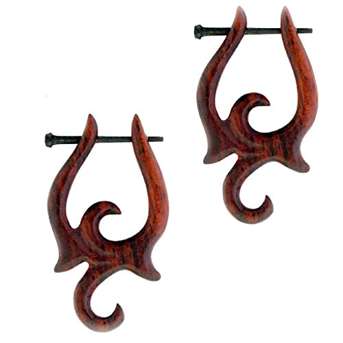 Sono Wood Organic Earrings (Tribal Organic Wooden Earrings Sono Wood Plugs Sold As Pair W)