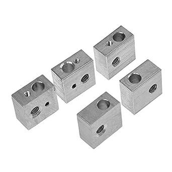 Aluminum Heater Block Specialized for MK7 MK8 3D Printer Extruder Pack of 6pcs URBEST