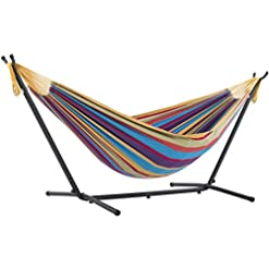 Garden and Outdoor Vivere Double Cotton Hammock with Space Saving Steel Stand, Tropical (450 lb Capacity – Premium Carry Bag Included) hammocks