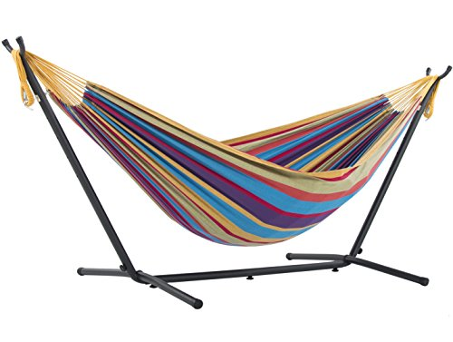 Vivere Double Cotton Hammock with Space Saving Steel Stand, Tropical (450 lb Capacity - Premium Carry Bag Included) ()