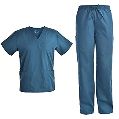 Pandamed Scrubs Medical Uniform Women and Man Scrubs Set Top and Pants Workwear Unisex V-neck TOP JY1601