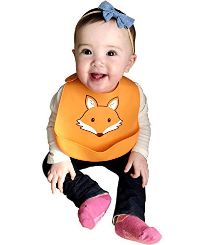 Hudson Baby Unisex Baby Silicone Bibs, Fox, One Size