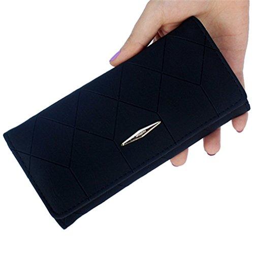 Portefeuille PurseFemale Titulaire Porte la Ling Embrayage relief Portefeuille Hasp de monnaie en Black Long Grid Haoling Carte Portefeuille PurseLadies Mode qC7C1