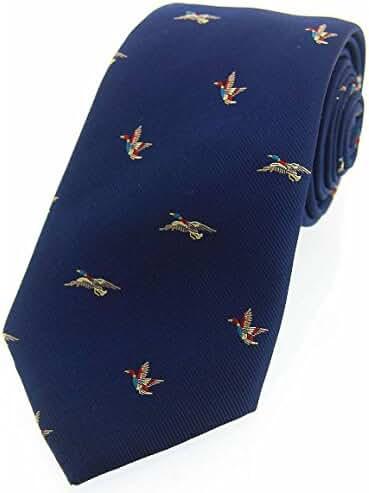 Navy Flying Ducks Woven Country Silk Tie by David Van Hagen