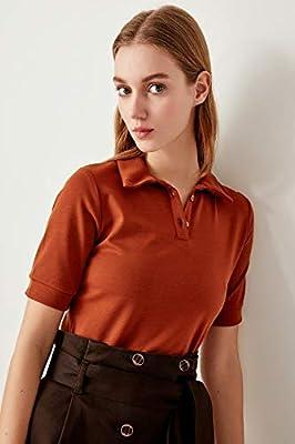 LFMDSY Camisa de Mujer Elegante Informal Cinnamon Camisetas de Punto TCLSS19OS0006 XS Marrón: Amazon.es: Deportes y aire libre