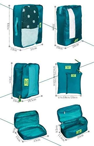Organisateurs de Valise Sac de Rangement pour Bagage v/êtements Chaussures cosm/étique Bleu-7 pi/èces
