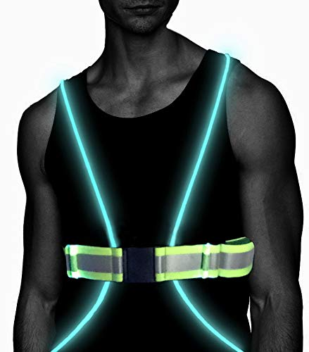 Atlecko 360° Reflective LED Running, Cycling or Hiking Vest & Belt for Men, Women & Kids - Safe & Comfortable - Bright Lights for High Visibility, Excellent Battery Life - Perfect for Night & Morning