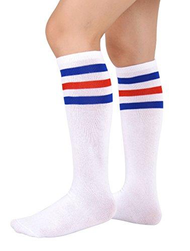Price comparison product image Eleray Unisex Triple Stripes Soft Cotton Knee High Tube Socks (Blue / Red / White)