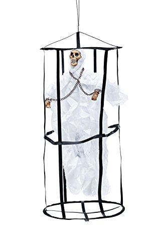 Animated Undead Ghost in Death Cage Skeleton Scary Halloween Party Decorations (White, black)