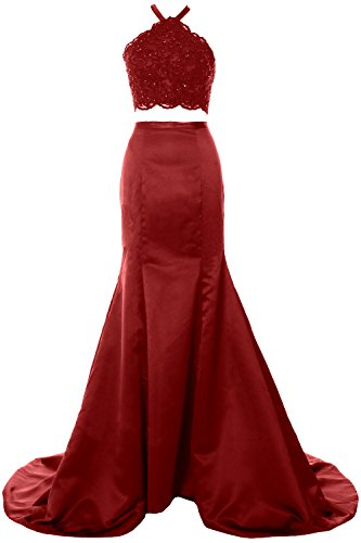 MACloth Women Mermaid 2 Piece Long Prom Dress Halter Lace Formal Evening Gown Burgundy