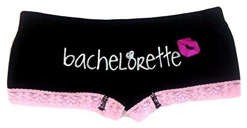 Playboy Women's Bachelorette Boyshort Panty with Lace Trim, Black, Medium Playboy Shorts