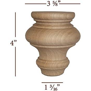 Traditional Small Diameter Bun Foot Red Oak