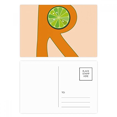 R Alphabet Orange Fruit Postcard Set Birthday Thanks Card Mailing Side 20pcs