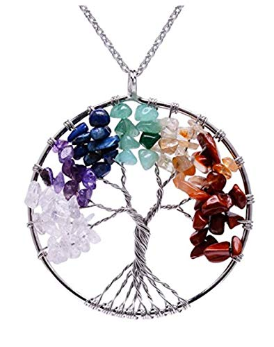 Tree of Life Chakra Pendant Necklace Natural Gemstone Chakra Jewelry 26