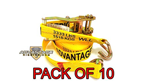 Heavy Duty Ratchet Strap Tiedown 27' X 2'' with Wire J Hooks 10k Break Strength 10 Pack by Advantage Rigging