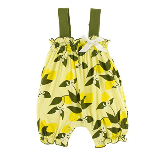 Kickee Pants Little Girls Print Gathered Romper with Bow - Lime Blossom Lemon Tree, 18-24 Months