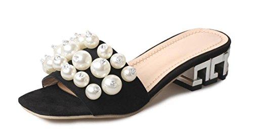 Cuadrado con sandalias y zapatillas de punta abierta verano de la perla de la moda con las sandalias de la palabra arrastrar las mujeres Black