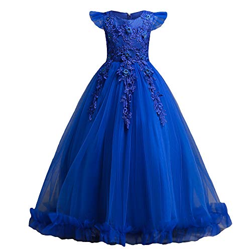 HUANQIUE Girls Pageant Party Long Dresses Flower Girl Wedding Dress RoyalBlue 7-8 Years -