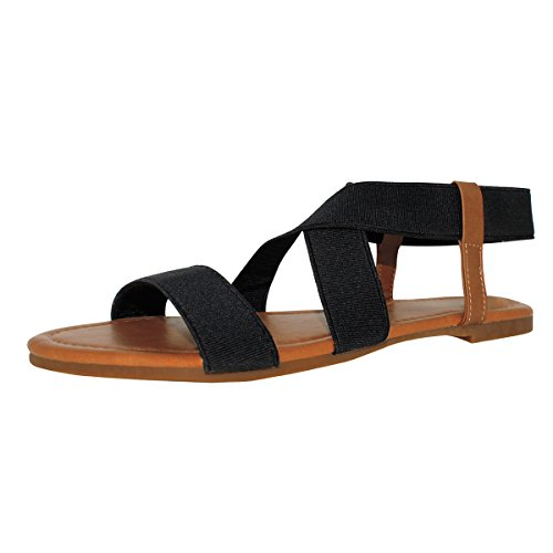 Sandalup Women's Elastic Flat Sandals Black Size 10