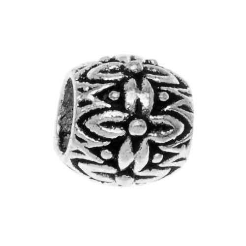 Beadaholique Bali Flower Barrel Tube Pandora Compatible Beads, 9mm, Sterling Silver Sterling Silver Bali Tube