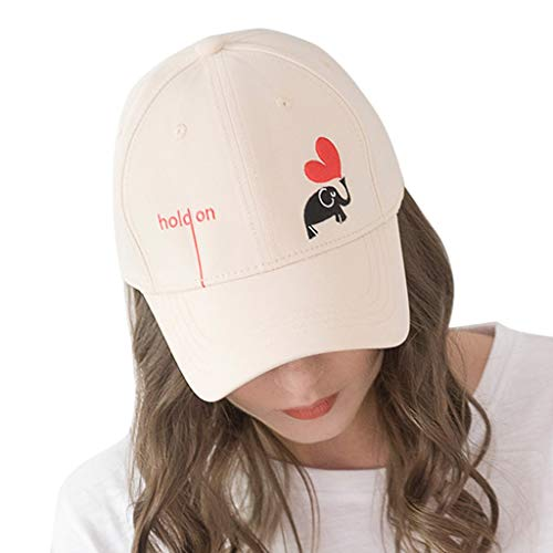 Haluoo Heart Embroided Baseball Cap Letters Hold On Dad Hat Polo Style Unconstructed Hat Elephant Snapback Hat Outdoor Hat Men Women 2019 Fashion Summer Visor Hat (Beige)