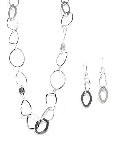 Silvertone Polished Geometric Hoops Fashion Necklace and Earring Set
