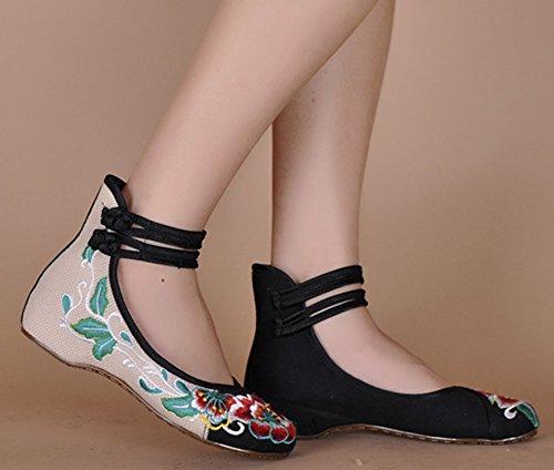 Fleur Moulantes Plat Ballerine Fait Janes Chaussures Noir Icegrey Broderie Mary Femme Main wxcqYcz0A4