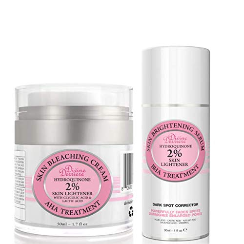 Skin Lightening 2% Hydroquinone Bleaching Cream and Dark Spot Corrector For Face & Melasma Treatment Fade Cream Kit – Fade Dark Spots, Freckles, Hyperpigmentation and Discolorations.