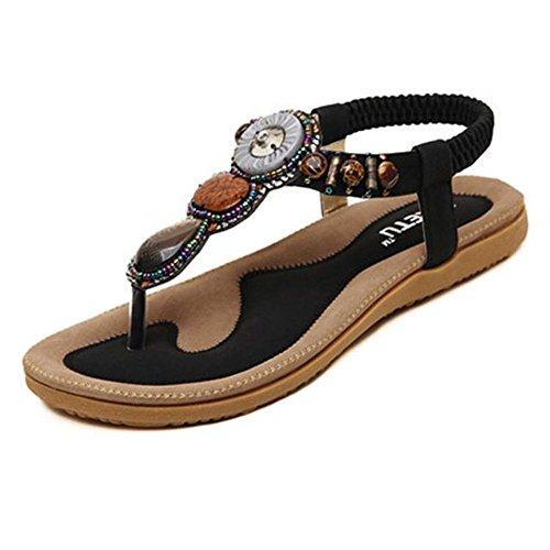 SKY Comfortable to wear it !!! Moda de las mujeres de Bohemia Sweet Beaded Clip Toe Flats Herringbone Sandalias Negro