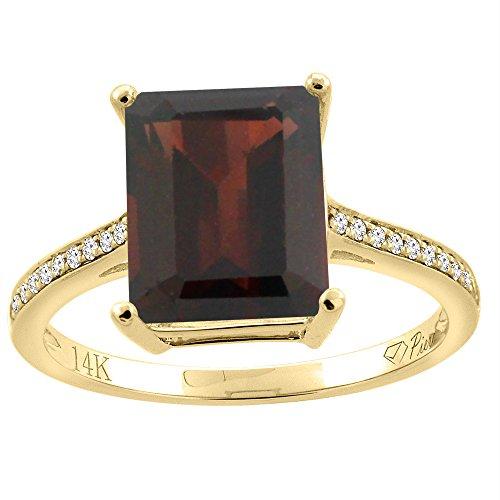 14K Yellow Gold Natural Garnet Ring Octagon 10x8 mm Diamond Accents, size - 14k Garnet Ring Natural Gold