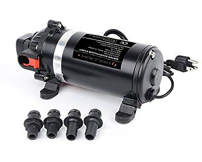 GSLOOK AC110V/115V High Pressure Diaphragm Water Pump 160PSI 8L/min, Self-priming Misting Booster Pump Sprayer for Caravan/RV/Boat/Marine