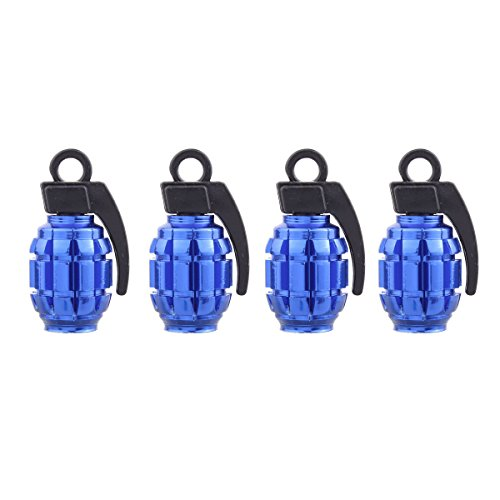 TOMALL Valve Caps Hand-grenade Style for Truck SUV Jeep Aluminum Alloy Valve Stem Caps Dustproof Cover (4pcs Blue) (Hand Stem)