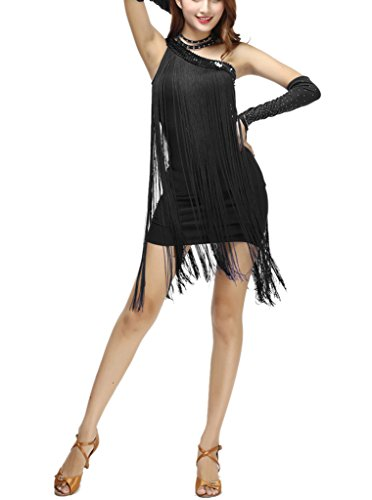 (One Shoulder Asymmetrical Fringe Flapper Inspired Prom Cocktail Dress, Black, One)