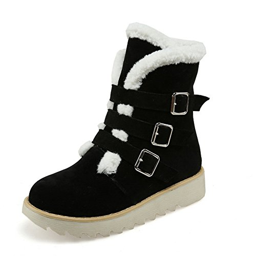 BalaMasa Ladies Studded Rhinestones Metal Buckles Fur Collar Imitated Suede Boots Black kw7etq6dmN