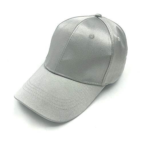 accsa Women Summer Satin Baseball Cap Adjustable Strap Silver ()