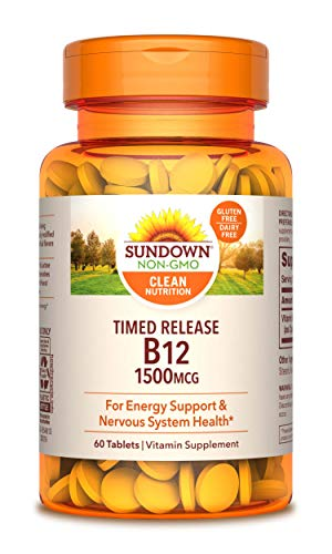 Sundown Naturals Vitamin B-12 1500 mcg, 60 Time Release Tablets (Pack of 3)(Packaging May Vary)