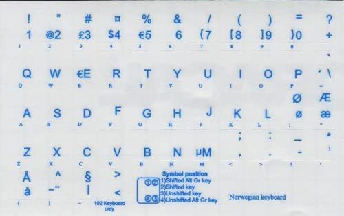 NORWEGIAN KEYBOARD STICKERS WITH BLUE LETTERING ON TRANSPARENT BACKGROUND