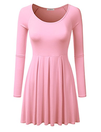 Pink Long Sleeve Dress - Doublju Long Raglan Sleeve Scoop Neck Flare Tunic Dress Top ( Plus size available ) PINK SMALL
