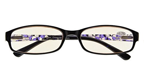 Visionkr Anti Blue Rays,Reduce Eyestrain,Crystal Clear Spring Hinges,Computer Reading Glasses Women(Purple,Amber Tinted Lenses) +0.5