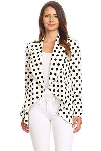 Instar Mode Women's Solid Formal Style Open Front Long Sleeves Blazer - Made in USA White/Black S
