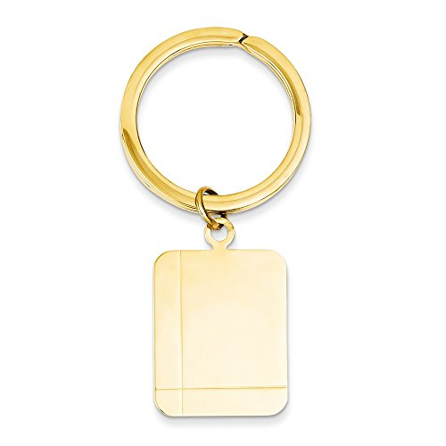 14k Rectangle Disc Key Ring by Saris and Things