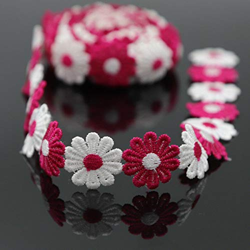 3Yds Multi-Color Venise Polyester Lace Trim Embelishment Daisy DIY Sewing Crafts (Color - Rose red + White)