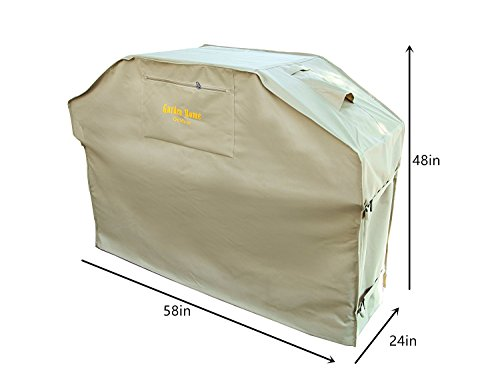 Felicite Home Up to 58″ Wide, Water Resistant, Air Vents, Padded Handles, Elastic hem cord – Heavy Duty burner gas BBQ grill Cover,Khaki