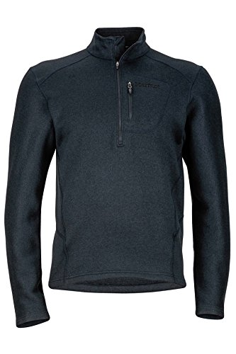 Marmot Drop Line 1/2 Zip Men's Pullover Jacket, Lightweight 100-Weight Sweater Fleece, Jet Black, XX-Large (1/2 Zip Fleece Pullover)