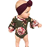 Dinlong Baby Girls Clothes Long Romper Flower Print Jumpsuit + Headband Outfits (12-18 Month, Green)